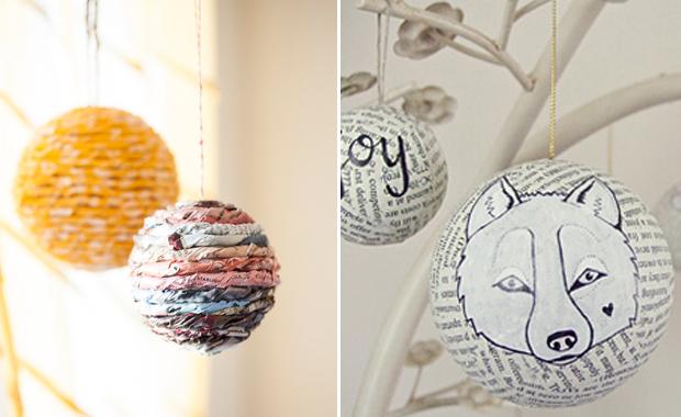 Christbaumkugeln Pappmache.Selber Machen Weihnachtskugeln Aus Zeitungspapier Himbeer Magazin