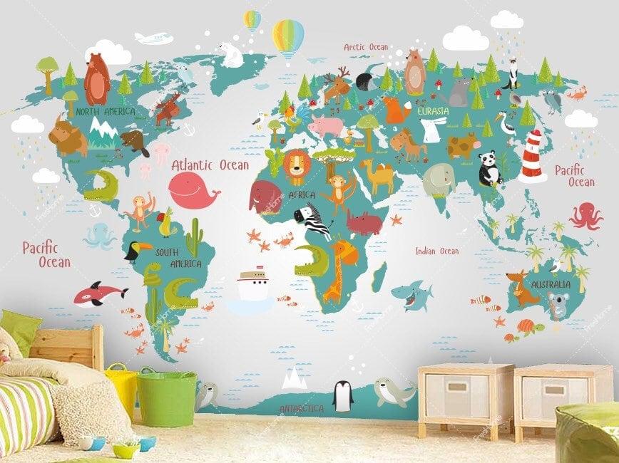 Weltkarte als Wandtatoo // HIMBEER