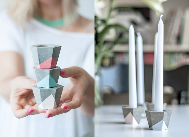 DIY-Kerzenhalter aus Beton – Selber Machen mit Kindern // HIMBEER