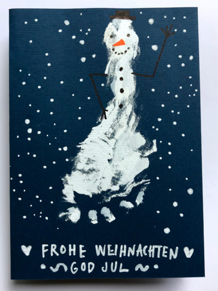 Weihnachtskarte selbstgemacht Fussabdruck // HIMBEER