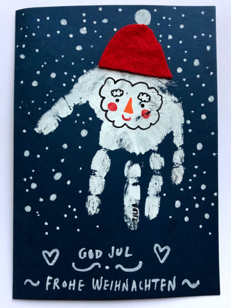 Basteltipps zu Weihnachten: Weihnachtskarte selbstgemacht Fussabdruck // HIMBEER
