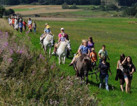 Kinder bei der Pferdewanderung im Naturpark Hoher Vogelsberg | BERLIN MIT KIND