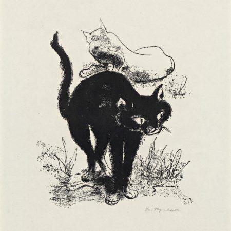 Schwarze Katze und weiße Katze von Josef Hegenbarth   BERLIN MIT KIND