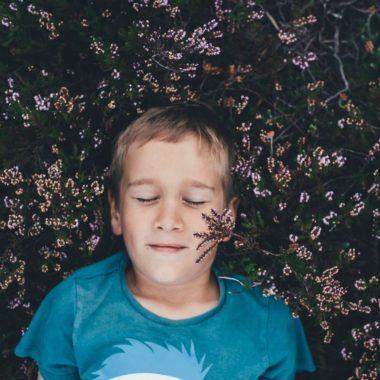 Ein Kind genieß es, im Heidekraut zu liegen | Berlin mit Kind