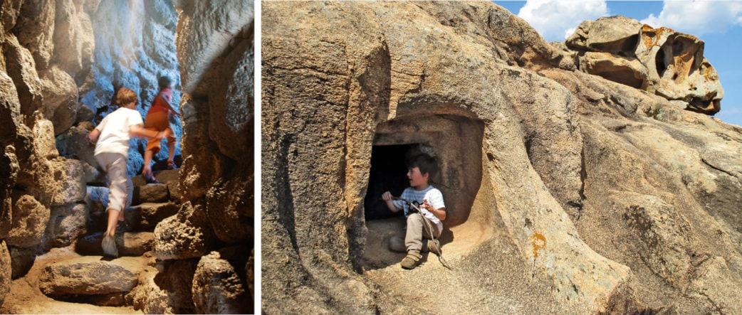 Kinder klettern in den Nuraghen und Domus Höhlen auf Sardinien | München mit Kind