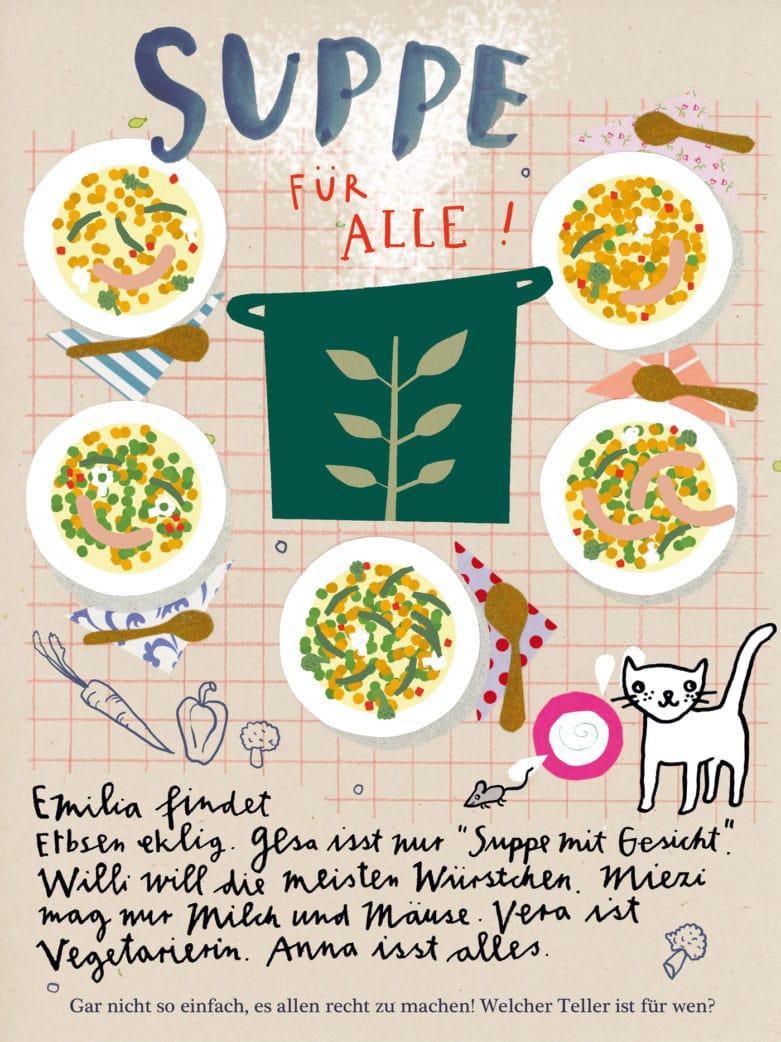 Kinderrätsel kostenlos zum Ausdrucken: Suppe für alle // HIMBEER