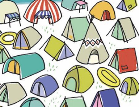 Kinderrätsel kostenlos zum Ausdrucken: Zeltplatz mit Kindern // HIMBEER