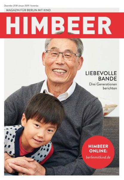 """HIMBEER Familienmagazin – das Magazin für Berlin mit Kind, Ausgabe Dezember 2018 Titelthema """"Liebevolle Familienbande – drei Generationen berichten"""" // HIMBEER"""