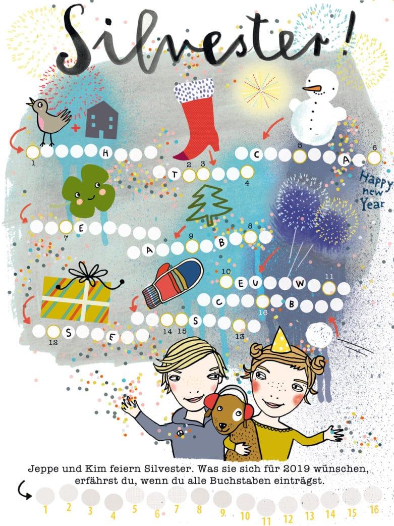 HIMBEERCHEN Kinderrätsel Silvester im Familienmagazin HIMBEER von Silke Schmidt // HIMBEER