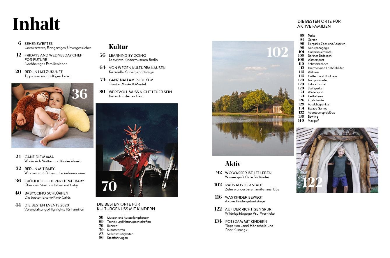 Familien-Freizeit-Guide BERLIN MIT KIND 2020, Blick ins Buch: Voller schöner und nützlicher Inhalte und Tipps für Familien // HIMBEER
