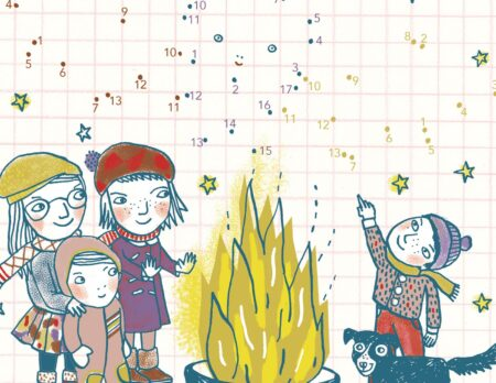 HIMBEERCHEN Kinderrätsel: Kinder im Winter mit Feuerschale im Hof // HIMBEER
