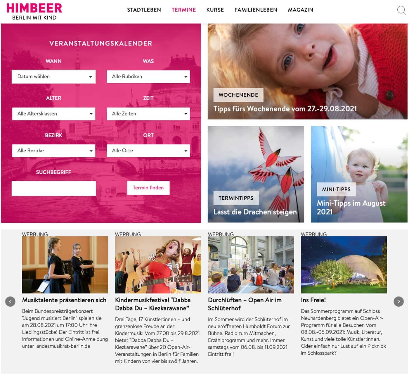 Online-Werbeformate auf berlinmitkind.de: Mit Top-Terminen gezielt Events bewerben // HIMBEER
