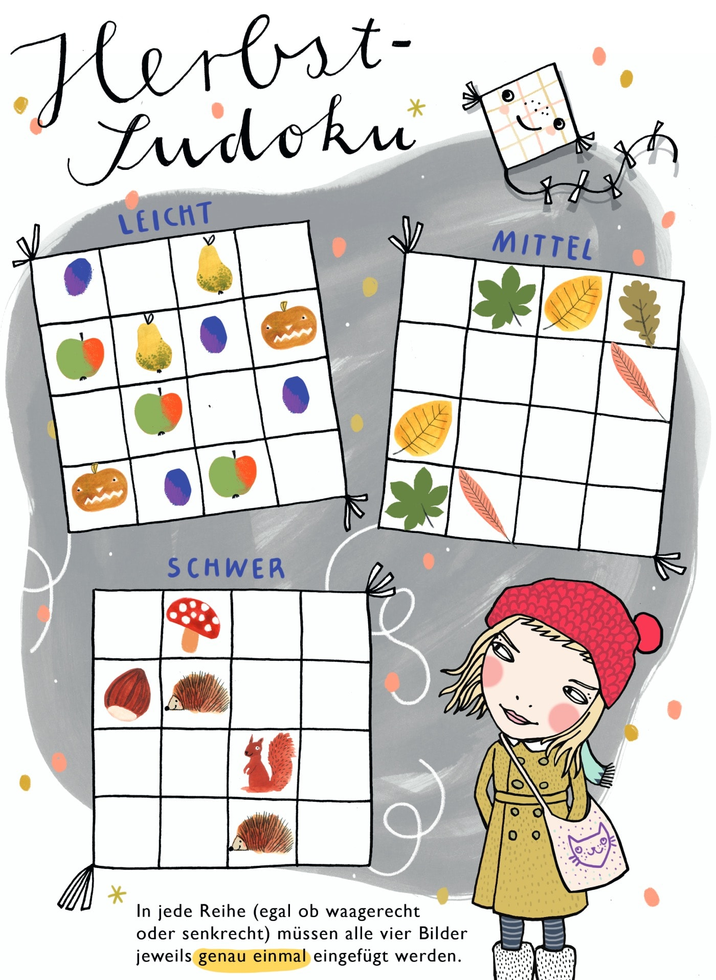 HIMBEERCHEN – Kostenloses Kinderrätsel: Herbst-Sudoku // HIMBEER